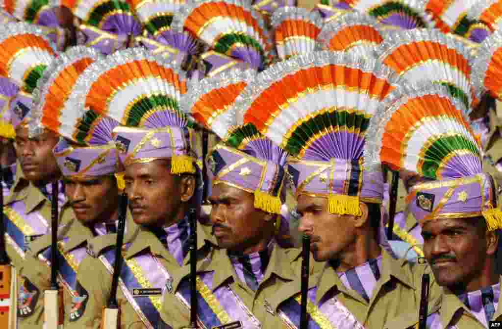State police march in a ceremonial parade during India's 60th Republic Day celebrations in Hyderabad on January 26th. - Photo by AFP
