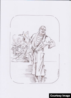 """""""Фридрих и еда"""". Рисунок Ольги Юргенс"""