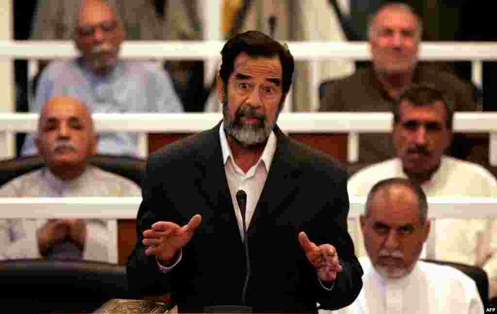 When the trial for crimes against humanity over the Al-Dujayl killings opened in Baghdad on October 19, 2006, Saddam Hussein refused to enter a plea, or recognize the authority of the court.
