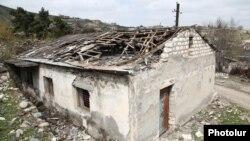 Nagorno-Karabakh - A house in Talish village damaged by Azerbaijani shelling, 6Apr2016.