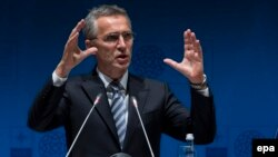 NATO Secretary-General Jens Stoltenberg speaks during the press conference at the NATO Foreign Ministers Summit in Antalya on May 13.