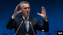 NATO Secretary-General Jens Stoltenberg speaks during a press conference at the NATO Foreign Ministers Summit in Antalya on May 13.