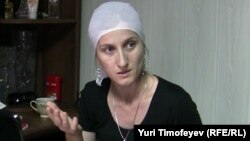 Daghestani lawyer Sapiyat Magomedova in June 2010, shortly after she was beaten and detained by police officers.