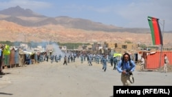 عکس از جریان تظاهرات خشونت آمیز در بامیان