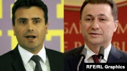 A composite photo of Macedonia's opposition Social Democratic Union leader Zoran Zaev (left) and former Prime Minister Nikola Gruevski