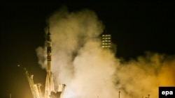 Запуск ракеты с пилотируемым космическим кораблем «Союз ТМА-13М». Байконур, 29 мая 2014 года.