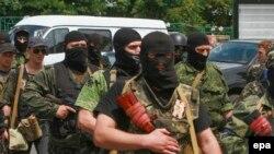 Проросійські бойовики так названого батальйону «Восток», Донецьк, 25 травня 2014 року