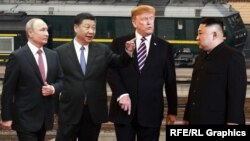 Владимир Путин, Си Цзиньпин, Дональд Трамп и Ким Чен Ын (коллаж)