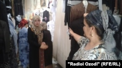 A clothes market in the Tajik city of Kulob.