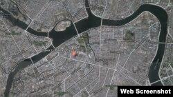 Карта Санкт-Петербурга, размещенная на блоге Алексея Навального, на которой он указал местоположение элитной квартиры дочери московского мэра Сергея Собянина.