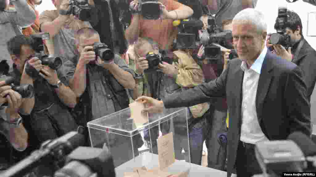 """Two-term President Boris Tadic voted at a downtown Belgrade polling station on May 20, calling it """"a very important day for Serbia and the five years ahead because the future path of Serbia will be redefined."""""""