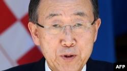 Генералниот секретар на Обединетите нации, Бан Ки Mун за време на посетата во Хрватска.