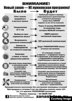 Реновация. Сравнительная таблица, составленная гражданскими активистами