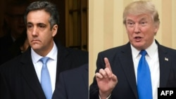 A composite file photo of U.S. President Donald Trump (right) and his former attorney Michael Cohen.