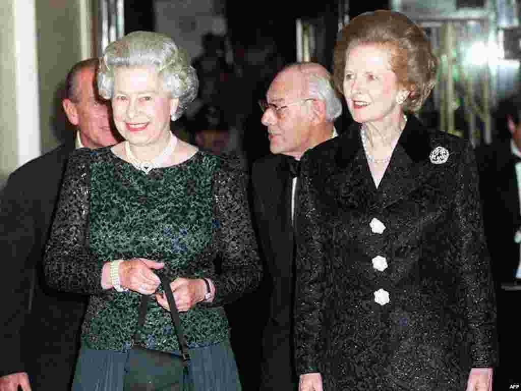 Торжественный ужин в честь 70-летия Тэтчер с участием британской королевы Елизаветы II