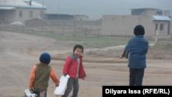 Ауыл балалары. Оңтүстік Қазақстан облысы, Бағыс ауылы, 19 желтоқсан 2015 жыл (Көрнекі сурет).