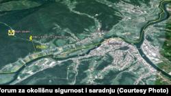 Geografski prikaz mogućeg odlagališta radioaktivnog otpada