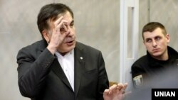 Ukrainian opposition figure Mikheil Saakashvili in a Kyiv courtroom earlier this month.