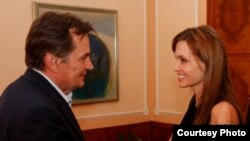 Angelina Jolie met with members of Bosnia's tripartite presidency during a visit to Sarajevo on August 21.