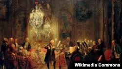 Адольф фон Мэнцэль, «Флейтавы канцэрт Фрыдрыха Вялікага ў Сан-Сусі» (1852).
