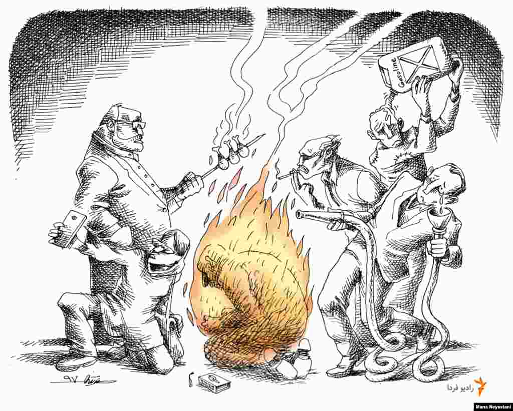 "Farda Exclusive -- ""Self-immolation"" a Cartoon By Iranian Cartoonist Mana Neyestani."