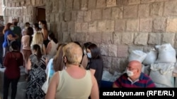 Teachers lining up to undergo coronavirus tests in Yerevan on September 11.