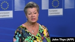 """EU Home Affairs Commissioner Ylva Johansson: """"This is an act of aggression."""" (file photo)"""