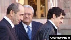 Armenia -- Former President Robert Kocharian and his son Levon. Photo courtesy of Hayakakan Zhamanak.