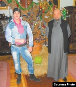 Bishop Kacavenda poses with Belgrade stripper Dejan Nestorovic