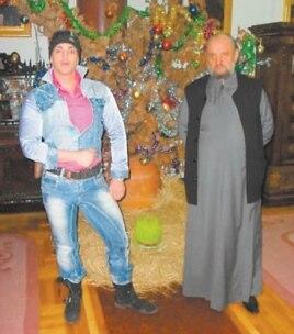 Bishop Kacavenda poses with Belgrade stripper Dejan Nestorovic