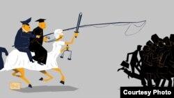 Карикатура художника Мурата Дильманова.