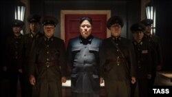 نمایی از فیلم کمدی «مصاحبه» که داستان آن تخیلی بوده و درباره ترور رهبر کره شمالی است.
