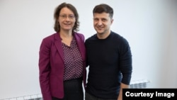 Volodymyr Zelenskiy with the French Ambassador to Ukraine Isabelle Dumont on February 23.