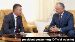 Встреча президента Молдовы Игоря Додона и лидера Приднестровья Вадима Красносельского в Кондрице