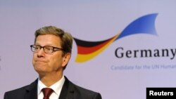 U.S. -- Germany's Foreign Minister Guido Westerwelle speaks during an event to promote Germany's candidacy for the United Nation's Human Rights Council, New York, 12Apr2012