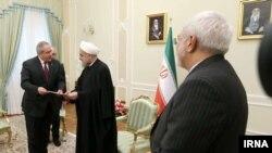 دیدار وزیر خارجه اردن ناصر جوده با حسن روحانی رئیس جمهور ایران و با حضور محمدجواد ظریف وزیر خارجه