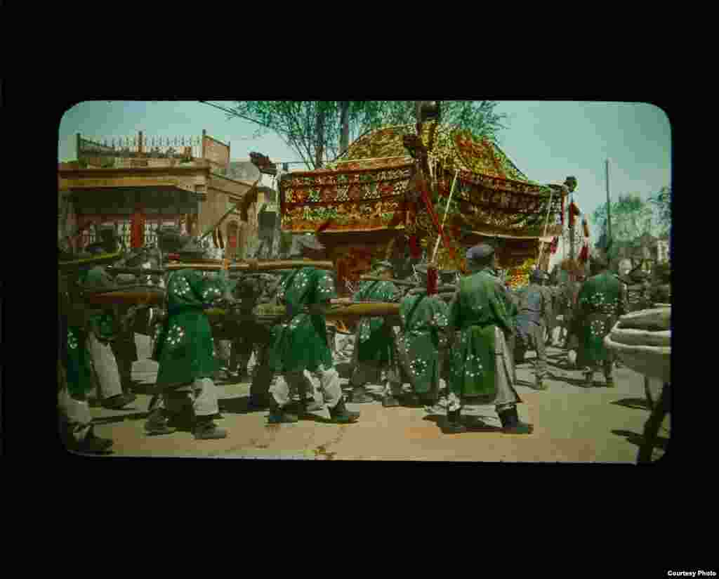 A funeral procession in Peking, China