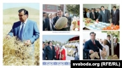 Tajikistan's president surrounded by food.