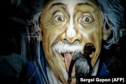 Графіці, прысьвечанае Альбэрту Эйнштэйну ў Менску