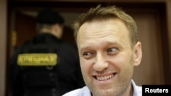 Russian opposition leader Aleksei Navalny in court in Moscow on June 16
