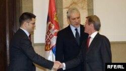 Bernar Kušner, Boris Tadić i Vuk Jeremić, Foto: Vesna Anđić