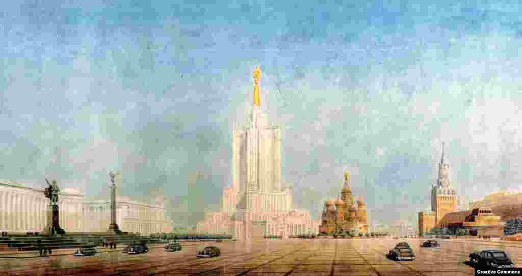 """The eighth sister was to have been the largest and most disruptive to Moscow's skyline. Although work got under way on the foundations, Stalin's death and Khrushchev's angst over """"architectural excesses"""" put the kibosh on the tower."""