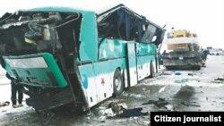 Olmaota-Toshkent yo'lida halokatga uchragan avtobus.