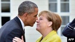 Գերմանիայի կանցլեր Անգելա Մերկելը ողջունում է ԱՄՆ նախագահ Բարաք Օբամային, Հանովեր, 24-ը ապրիլի, 2016թ․