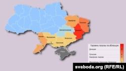 Harta separatismului din Ucraina, în limba bielorusă.