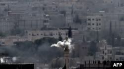 Քոբանի քաղաքը հրետակոծվում և ռմբահարվում է, 13 հոկտեմբերի, 2014թ.