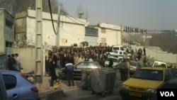 A photo of a 2009 incident in which inmates' relatives gathered outside Evin prison in Tehran.