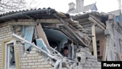 Дом у Данецку, разбураны ў выніку абстрэлу