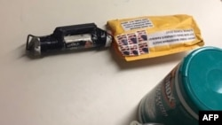 This Image obtained by CNN shows a suspected explosive device received at the CNN bureau in New York City on October 24.