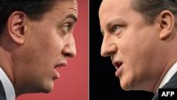 Liderul laburist Ed Miliband (stînga) și premierul britanic, liderul conservator David Cameron.
